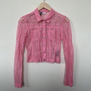 H&M | Hot Pink Structured Lace Blouse